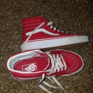 Red Sk8-Hi Vans